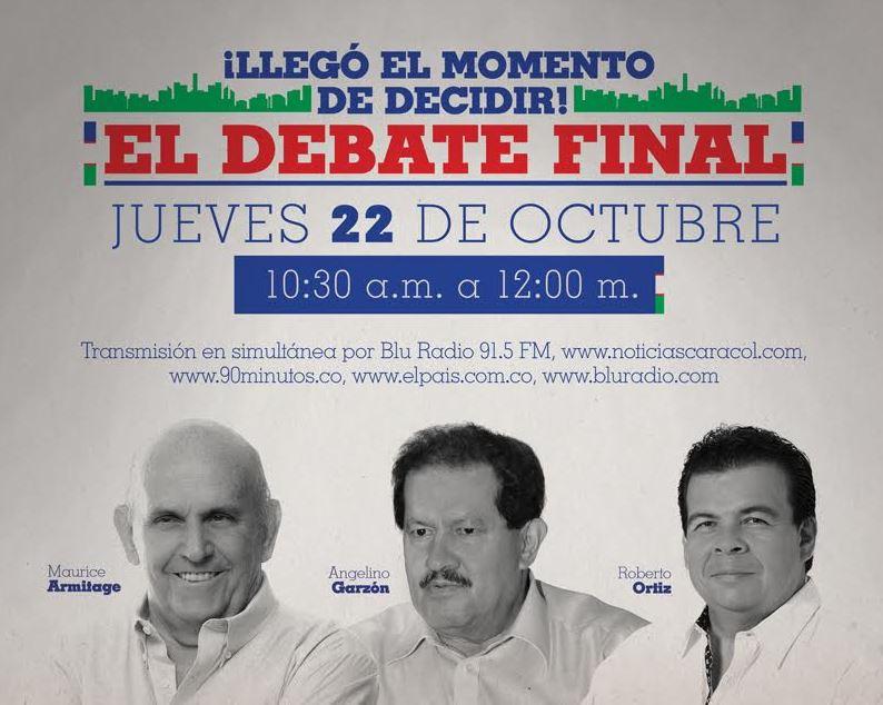 Este jueves el Debate Final con los candidatos a la Alcaldía