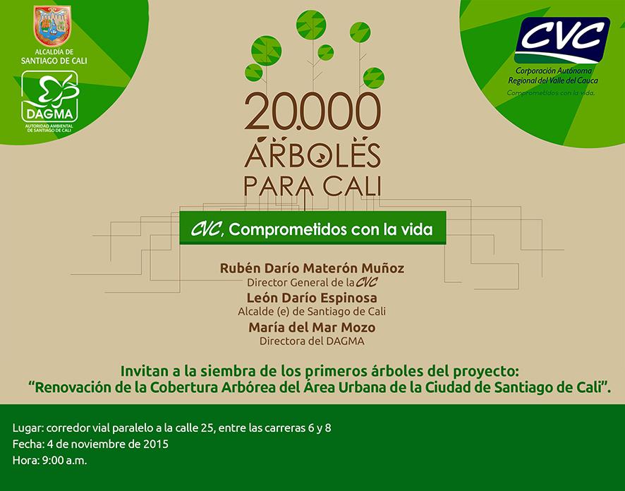 La CVC realiza el Lanzamiento del programa Veinte mil árboles para Cali