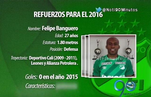 Felipe Banguero, un lateral con proyección para el Deportivo Cali 2016