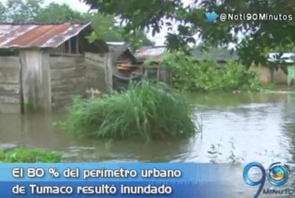 Desbordamiento de dos ríos generaron inundaciones en zona rural de Tumaco