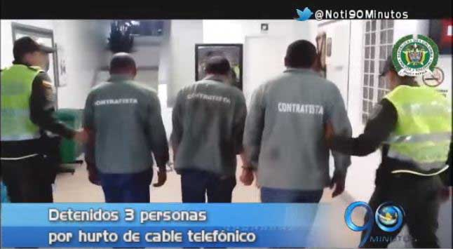 Policía capturó a tres hombres sindicados de hurto de cable telefónico