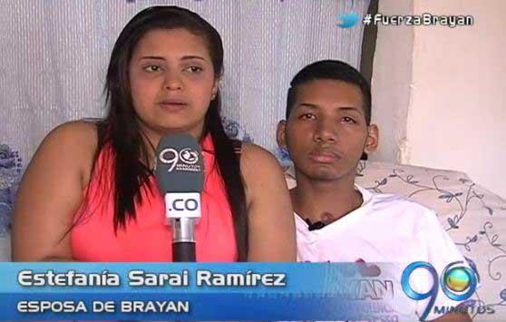 Brayan y su esposa agradecen la solidaridad de todos
