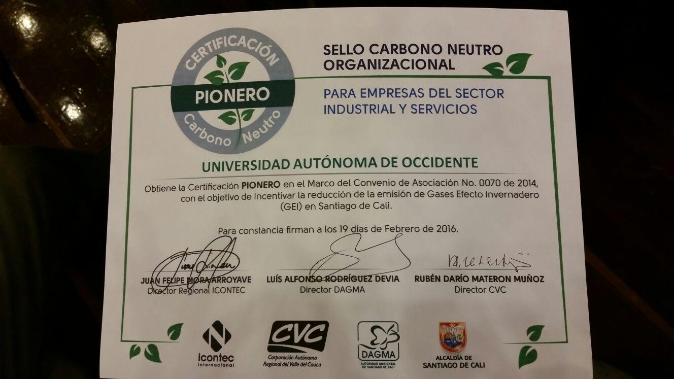 La UAO recibió certificación ambiental por parte del Dagma