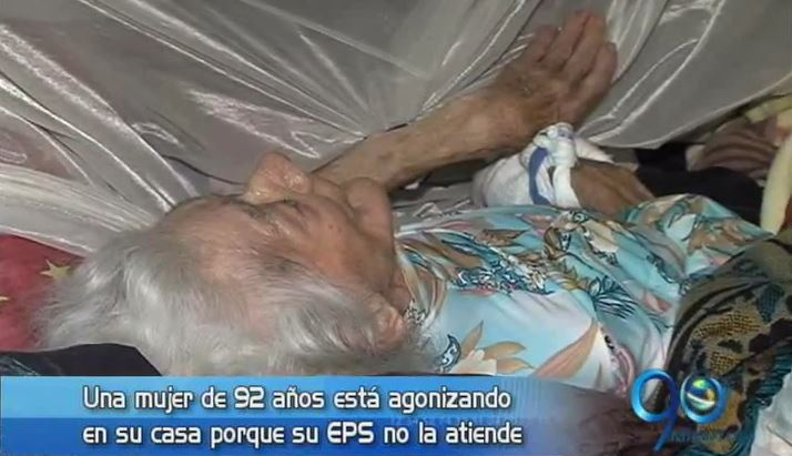 Una mujer de 92 años agoniza en su casa incumplimiento de su EPS