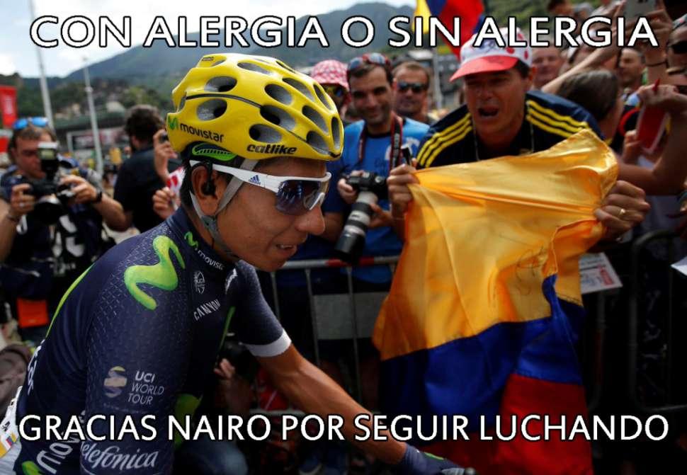 Nairo Quintana, una posible alergia y el meme del momento