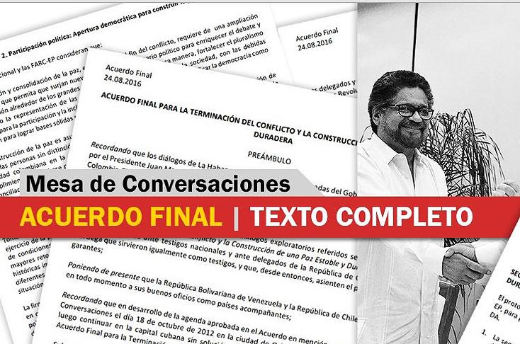 Este es el texto completo y definitivo del acuerdo pactado con las Farc