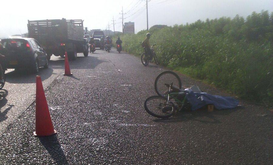 Muere ciclista en accidente de tránsito sobre la vía Cali-Candelaria