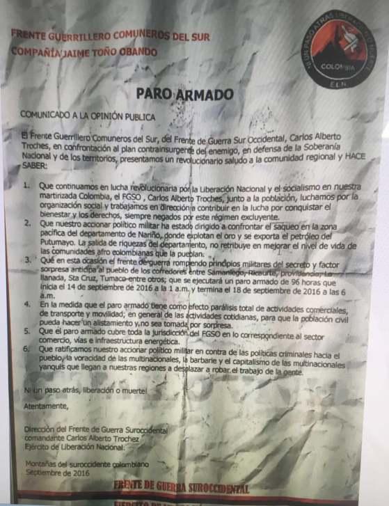 Presunto panfleto del ELN anuncia paro armado en Nariño