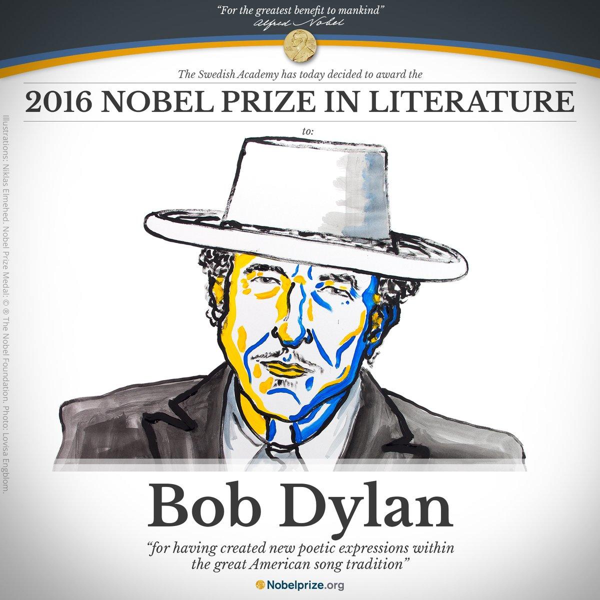 Bob Dylan, ganador de Premio Nobel de Literatura 2016