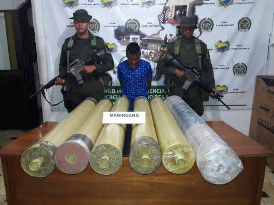 Capturado hombre que transportaba 65 mil gramos de marihuana