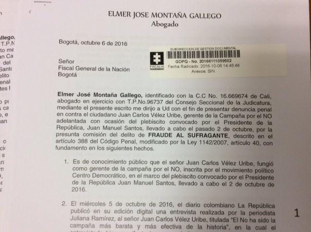 Abogado denuncia a Juan Carlos Vélez por fraude electoral