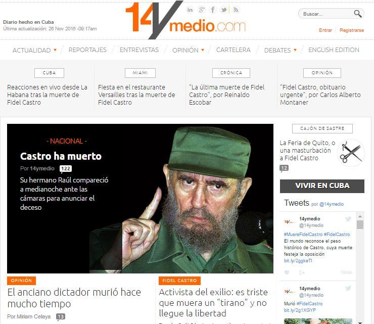 Así reaccionaron los medios ante la muerte de Fidel Castro