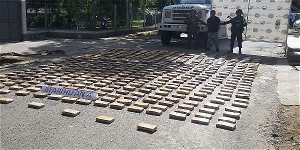 Media tonelada de marihuana fue incautada en vías del Cauca