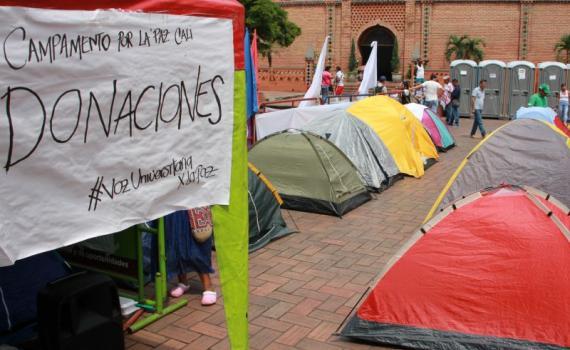 Estudiantes universitarios no levantarán Campamento por la Paz en Cali
