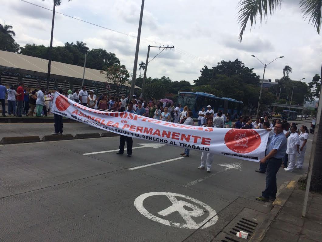 Continúa el desacuerdo entre sindicatos del HUV y Gobernación del Valle