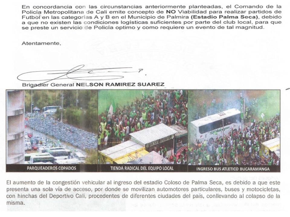 Policía de Cali: Estadio Palmaseca no es viable para partidos