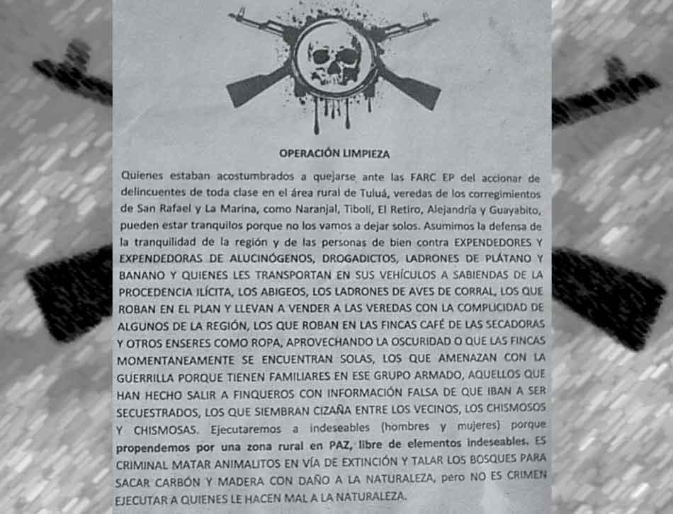 Investigan veracidad de panfletos 'operación limpieza' en Tuluá