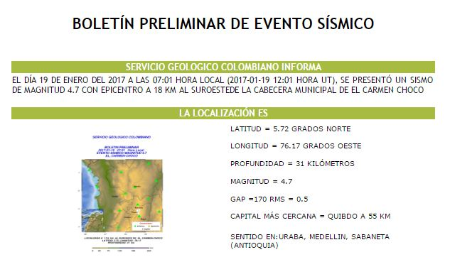 Sismo de magnitud 4.7 se registró en El Carmen, Chocó