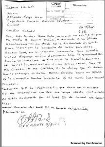 Carta manuscrita de Otto Bula