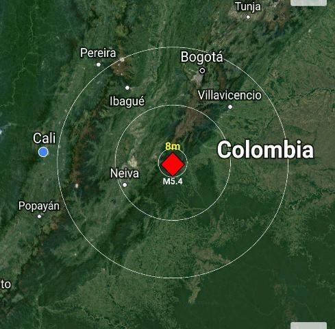 Sismo de 5,7 grados sacudió el centro y suroccidente colombiano