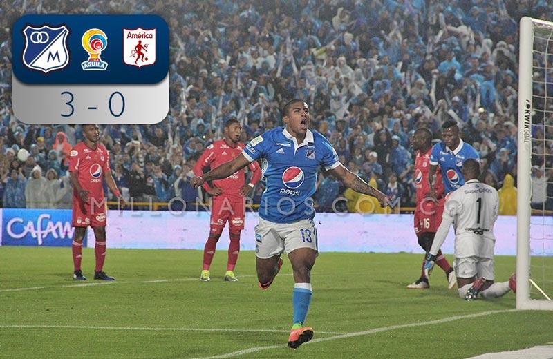 América fue derrotado por Millonarios en El Campín tres goles por cero