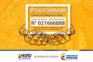 #TodosConMocoa; ya hay una cuenta habilitada para sus donaciones