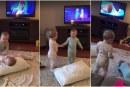 Video: Bebés gemelas recrean a la perfección escena de Frozen
