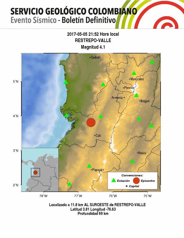 Temblor de 4.1 grados, con epicentro en Restrepo, se sintió en el Valle del Cauca