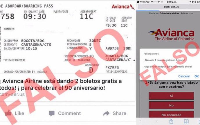 Avianca advierte sobre falso concurso para ganar tiquetes aéreos gratis