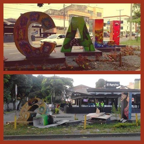 Indignación por destrucción de escultura CALI ubicada al sur de la ciudad