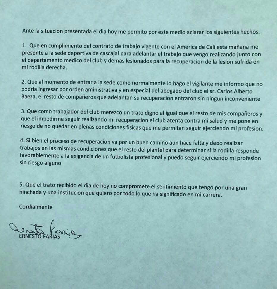 La carta de Ernesto 'Tecla' Farías tras no poder ingresar a sede del América