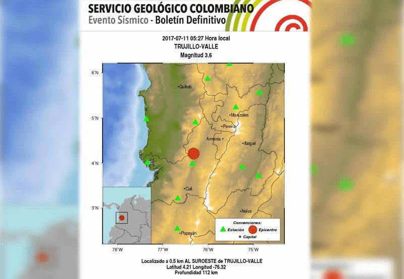 Sismo de magnitud 3.6 se sintió este martes en Trujillo, norte del Valle