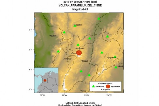 Sismo en Volcán Paramillo del Cisne se sintió en varios departamentos del Eje Cafetero