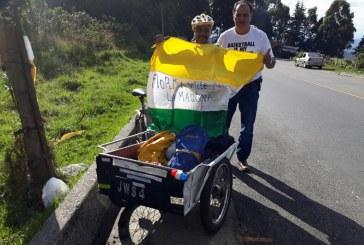 Habitante de Florida viajó a Bogotá en triciclo con la intención de conocer al Papa