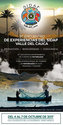 3er Encuentro de Experiencias del Sistema Departamental de Áreas Protegidas del Valle del Cauca, SIDAP, el cual se realizará desde el miércoles 4 hasta el sábado 7 de octubre en la plazoleta Jairo Varela.