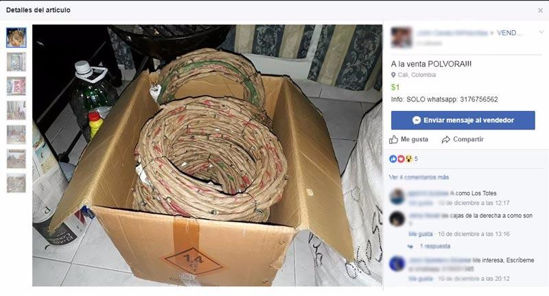 Policía del Valle en alerta por venta de pólvora a través de redes sociales