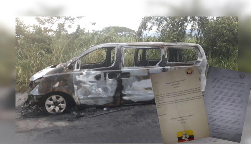 Cuatro hombres en moto habrían incinerado buseta en vías del Cauca