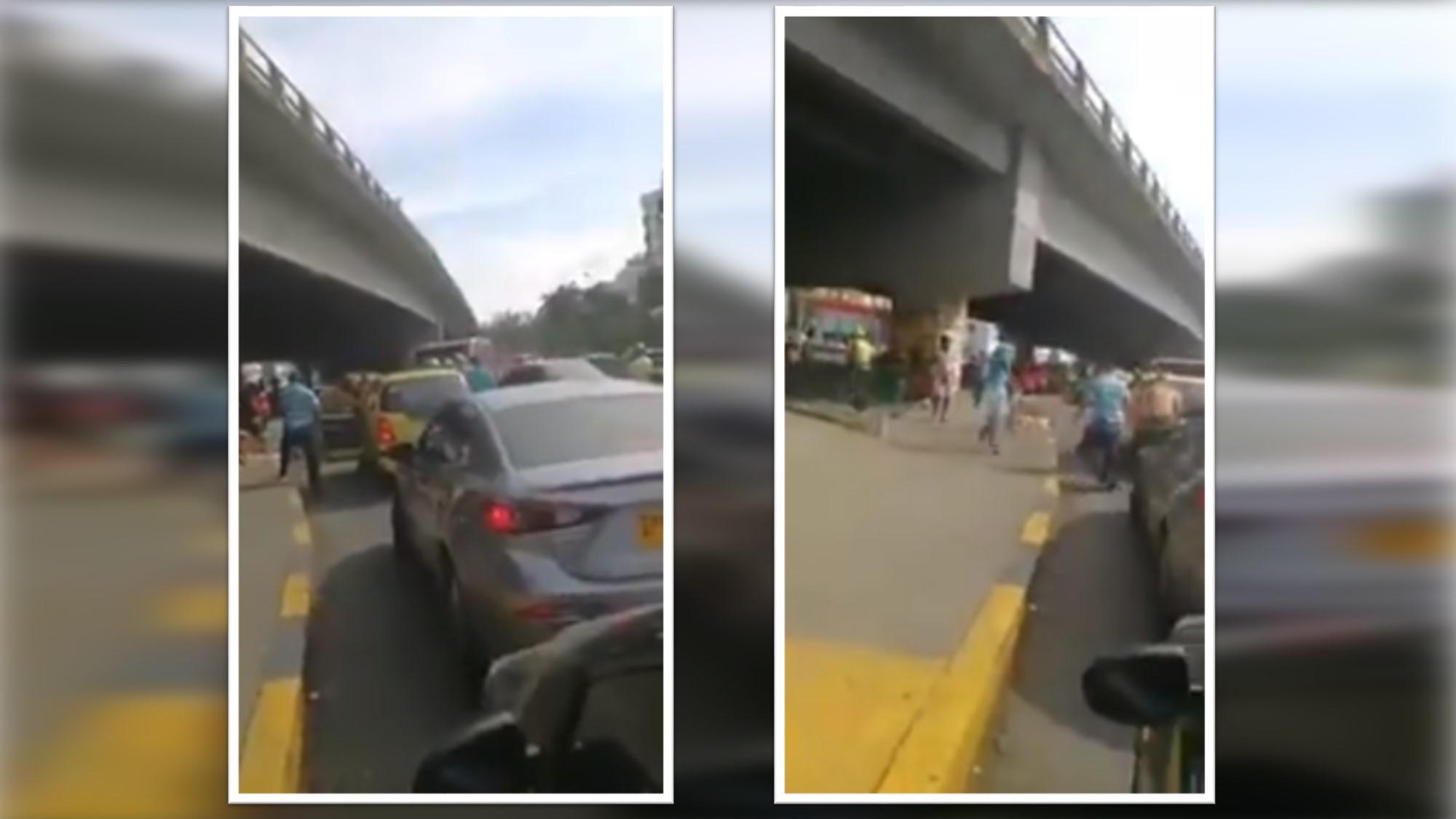Limpiavidrios atacaron a taxista que se negó a pagar por servicio en la Autopista Sur