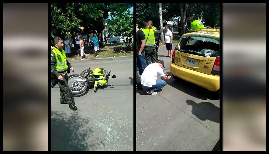 Policía estrelló patrulla motorizada contra taxi que estaba parqueado