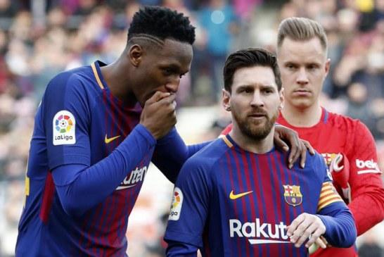 Manoteo de 'La Pulga': el reclamo de Messi a Yerry Mina en pleno partido