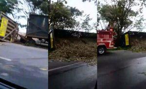 Volcamiento de tren cañero causa congestión vehicular en vía Palmira - Candelaria