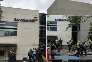 Frustran robo a mano armada en el Bancolombia de Ciudad Jardín, sur de Cali
