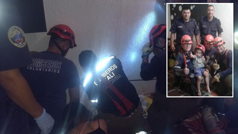 Bomberos de Cali rescatan a niño de 22 meses que tenía su brazo atrapado en un sifón