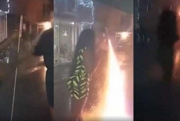 En video, mujer quedó grabada en el momento en que volador estalló en su mano