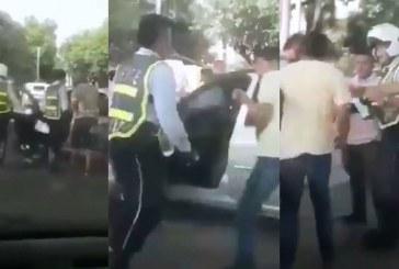 En video quedó registrada pelea entre conductor y agente de tránsito en Jamundí