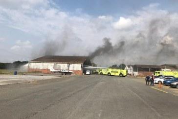 Por corto circuito, avioneta se incendió en el Aeropuerto Alfonso Bonilla Aragón