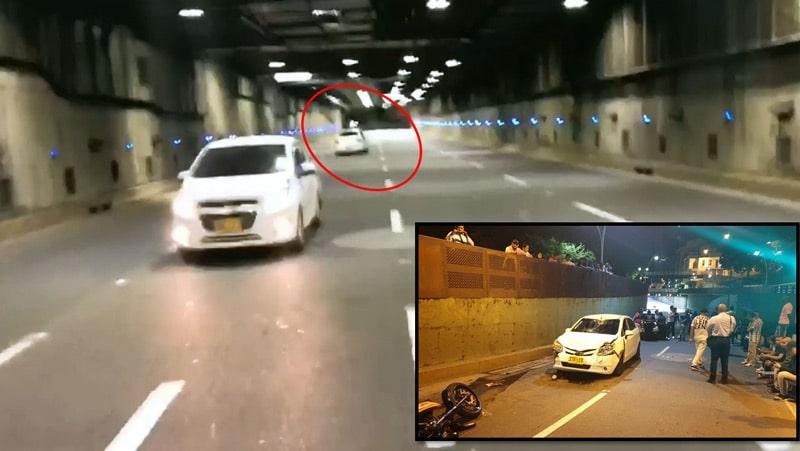 Video: momento en que carro huye del tránsito y embiste una moto en túnel mundialista