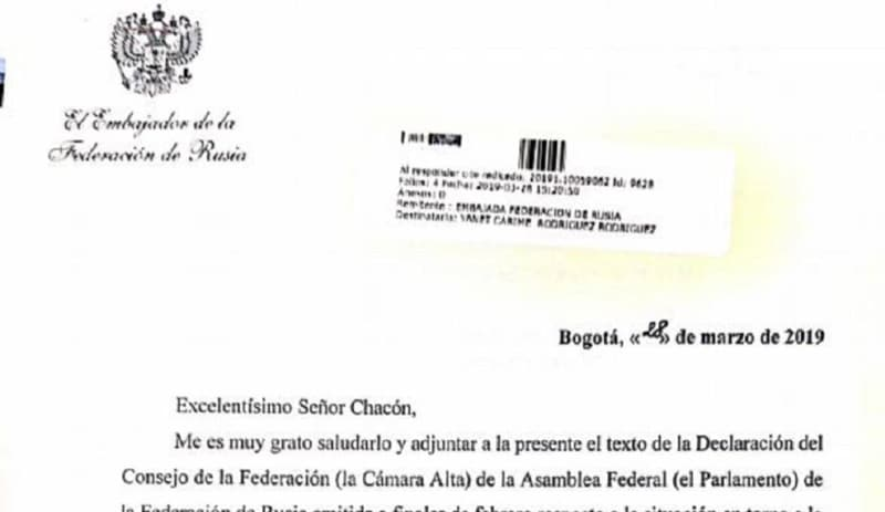 Embajada Rusa en Bogotá dice que nunca se refirió al país en carta sobre Venezuela