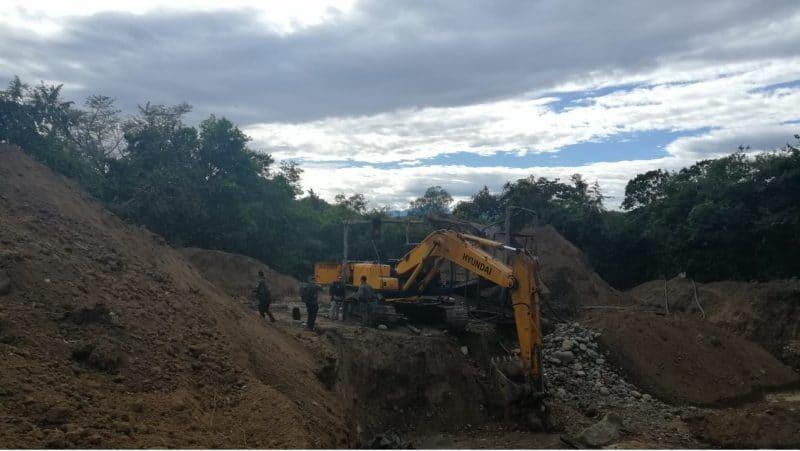Golpe a la minería ilegal: tres entables fueron intervenidos en Mercaderes, Cauca