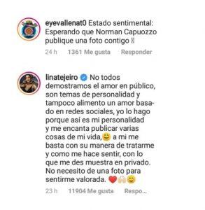Respuesta de Lina Tejeiro sobre por qué su novio no sube fotos con ella
